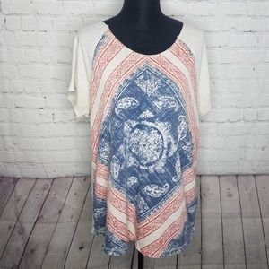LUCKY BRAND Plus Size 1x Graphic Print Shirt Top